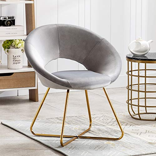 Artechworks Modern Velvet Accent Arm Chair Upholstered Makeup Vanity Dining Lounge Leisure Home Office Desk Chair with Golden Metal Base Legs for Living Room Bedroom Study, Grey 1PCS