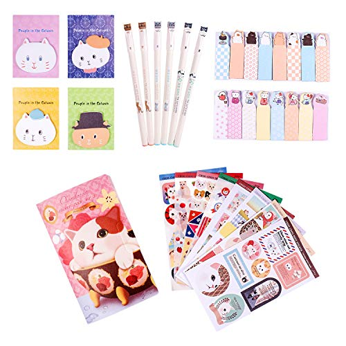 (Kawaii School Supplies - Cat Stationery Set includes 6 Gel Pens, 120 Sticky Notes, 45 Pcs Stickers, 240 Bookmark Page Flags - Japanese Style Office Supplies/Journaling Kit - Gift for Girls )