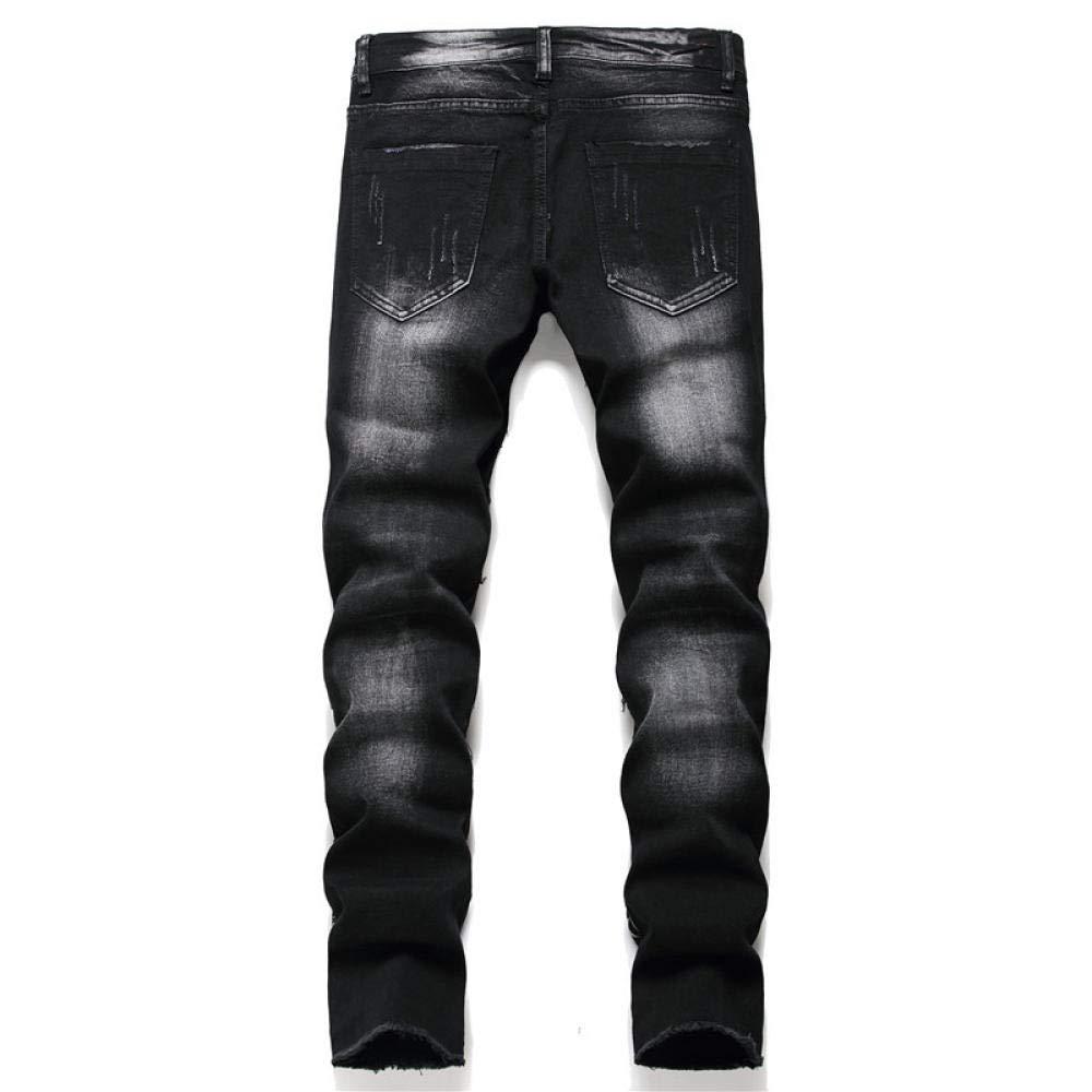 YOYVV Svart Skalle Stjärnor Tryckt Jeans Streetwear Knappar Fly Patchwork Slim Stretch Denim Fransbyxor Svart