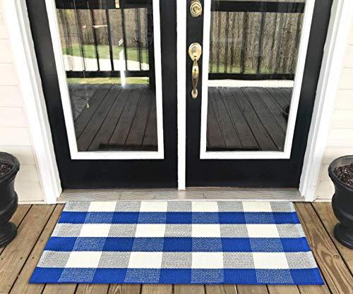 (Levinis Cotton Farmhouse Blue Buffalo Plaid Rugs- Washable Buffalo Check Area Rugs for Kitchen/Bathroom/Laundry Room/Entry Way, 23.6'' x 51.2'')