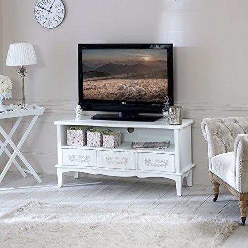 Antique White TV Cabinet with Drawers - Pays Blanc Range - Antique White TV Cabinet With Drawers - Pays Blanc Range: Amazon