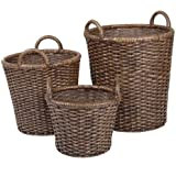 Metro Split Rattan Round Storage Basket. Set of 3 Dark Brown Premium Hand Woven Baskets that come in 3 Sizes. A Decorative Home Organizer Ideal in storing Linens, Clothing, Fabric, or Toys.