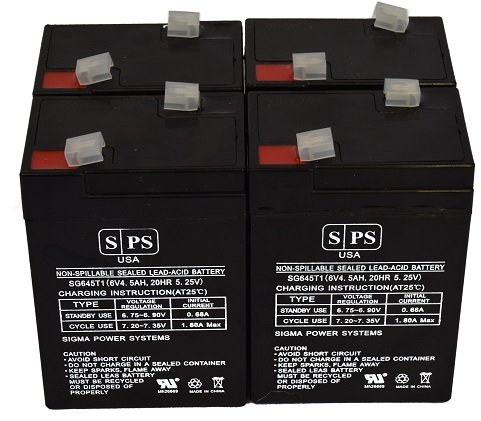 SPS Brand 6V 4.5Ah Replacement Battery for Baxter Healthcare 522 Cardiac Output Computer (4 Pack)