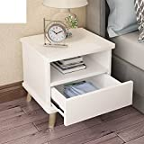 Simple modern bedside table,Bedroom storage cabinet mini bedside storage cabinet wood leg lockers-A