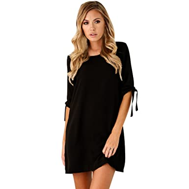 WINWINTOMSexy Womens Spring Summer Solid Bowknot Round Neck Half Sleeve Causal Blouses Tops Cocktail Mini Dress