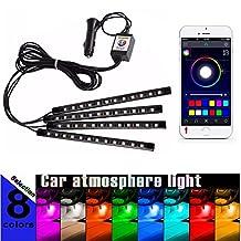 Led Car Lights Interior,Car LED Strip Light 4pcs 48 LED DC 12V Multi-color Smart Phone iOS Android App Bluetooth Control Car Interior Light RGB Decorative Atmosphere Lights Strip