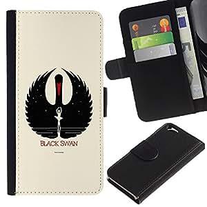 EJOY---La carpeta del tirón la caja de cuero de alta calidad de la PU Caso protector / Apple Iphone 6 / --Cisne negro