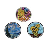 Dongmanli 3PCS Vincent Van Gogh Paintings The Starry Night Sunflowers Iron on Sew on Embroidery Patch Applique DIY Accessories