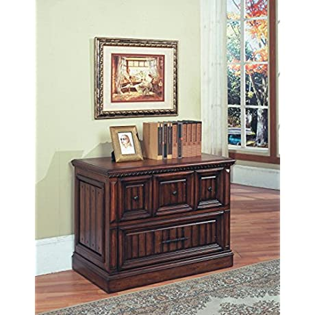 Solid Wood Lateral File Cabinet In Walnut Stain W Two Drawers