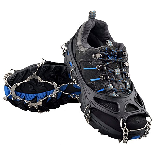 [OuterStar Traction Cleats Ice Snow Grips Anti Slip 12 Stainless Steel Spikes Crampons for Footwear (Black,] (Next Kids Boots)