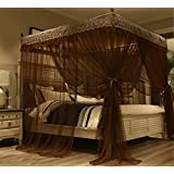 Nattey Solid 4 Corner Post Bed Curtain Canopy Mosquito Netting with Canopy Frame(Post) (Queen, Yellow) (Queen, Coffee)