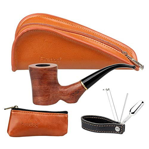 FIREDOG Tobacco Pipe Kit - Rose Wood Smoking Pipe, Split Leather Pipe Pouch, Small Tobacco Pouch, 3 in 1 Stainless Steel Pipe Tamper Holder ()