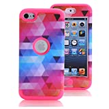 Ipod Gen 5 32gb Best Deals - iPod Touch 6 Case, iPod Touch 5 Case, KAMII [Colorful Series] 3in1 Shockproof Full-Body Protective Hard PC+Soft Silicone Hybrid Hard Case Cover for Apple iPod Touch 5 6th Generation (Rose)