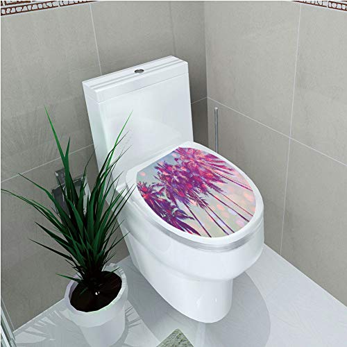 Toilet Cover Sticker 3D Printing,Nature,Palm Trees Hawaiian Tropic