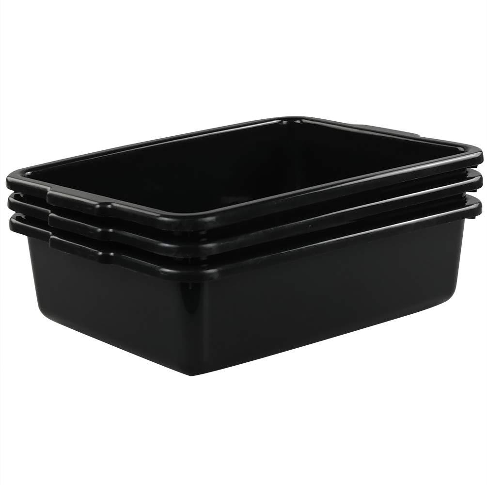 Qsbon Commercial Plastic Bus Box/Tote Box, Black Bus Tub/Wash Basin Tub, Set of 3 Qsboner