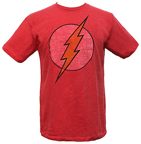 DC Comics Men's Flash Ultra Distressed Logo T-Shirt (Small, Vintage Red ()