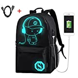 Anti Theft Backpack with Usb Charging Port Laptop Backpack 15.6-inch Middle School Backpack for Men and Women Luminous Casual School Bags