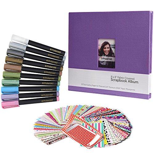 Scrapbook Deluxe Colorful Bundle - 8x8' Cloth Scrapbook + 100 Sticker Border Frames + 10 Metallic Markers For 2x3' HP Sprocket, LG, Prynt, LifePrint Printer Projects
