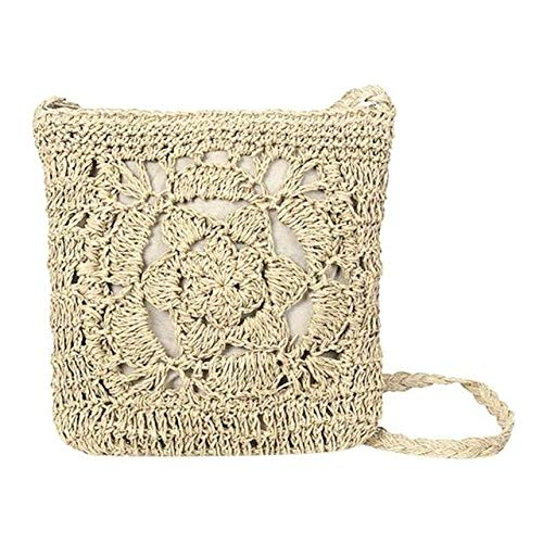 Woven Hollow Out Beach Bag Women Crochet Fringed Straw Clutch Handmade Day Clutches Knitting Weave Boho Summer Bag - WHITE - A117