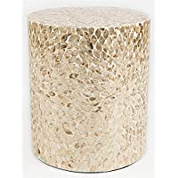 Round Capiz Accent Table in Sand Finish