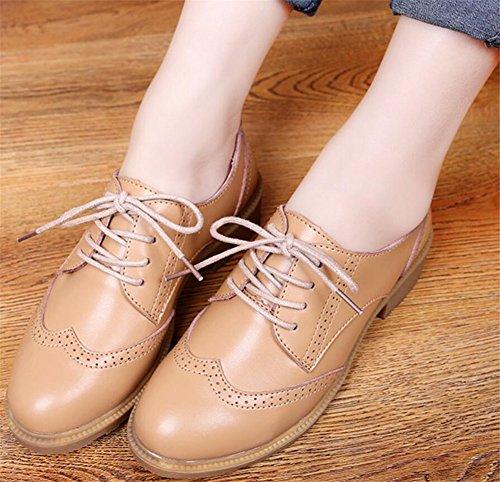 Chaussures Oxford Pour Les Femmes, Satuki Plate-forme Décontractée Lacets Robe De Talon Chaussure Abricot
