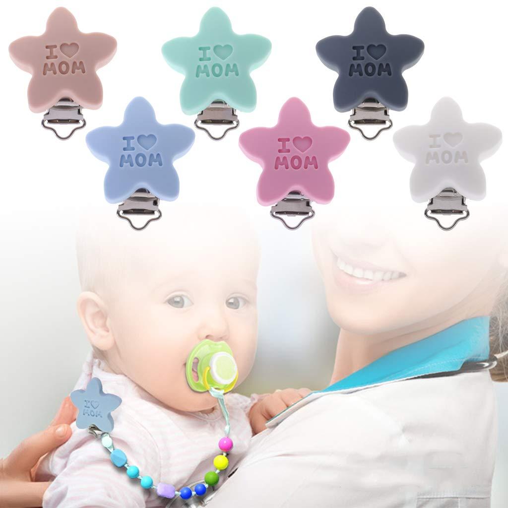 5 St/ücke Sternform Schnullerklemmen aus Silikon Schnullerclip Schnullerketten Clip f/ür Baby und Kinder Grau Rosa Haorw Schnuller Clip