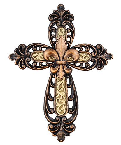 Ornate Crucifix - Ornate Fleur De Lis Layered Wall Cross Decorative Scrolly Details