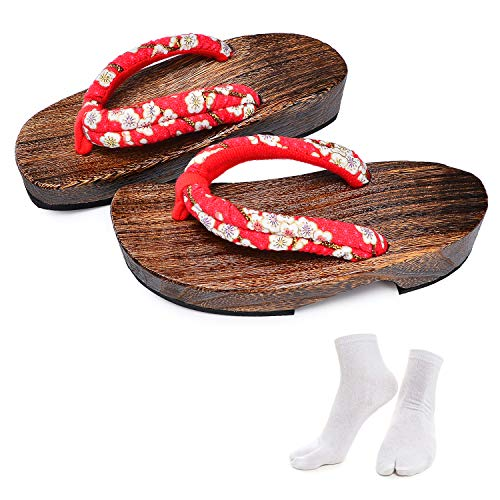 Japanese Wooden Clogs Sandals Japan Traditional Shoes Geta With Tabi Socks For Women (US 7-8 / 25cm)