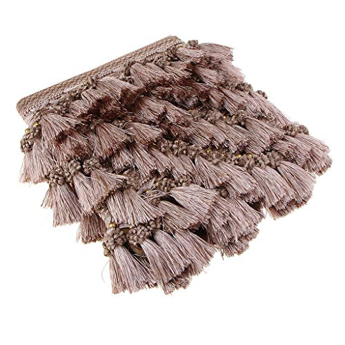 - European Style Beaded Tassel Fringe Lace Curtain Sofa Tablecloth Accessories | Color - Light Coffee