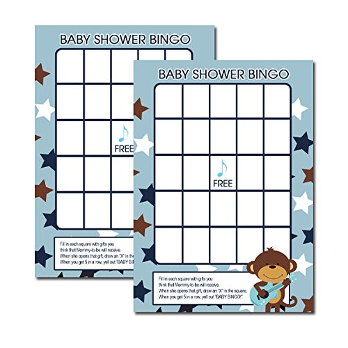 Rock Star Monkey with Guitar Baby Shower Bingo Activity Game 20-pack
