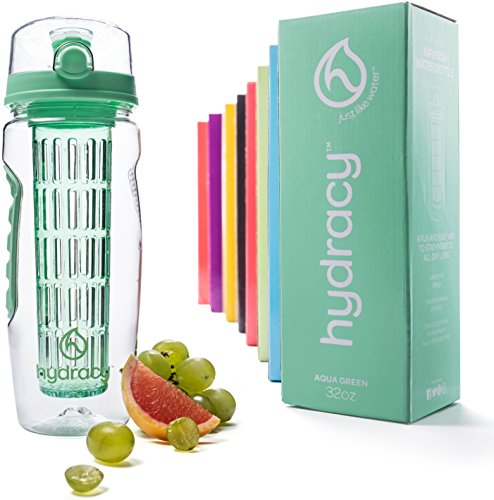 Hydracy Fruit Infuser Water Bottle - 32 Oz Sport Bottle with Full Length Infusion Rod and Insulating Sleeve Combo Set + 27 Fruit Infused Water Recipes eBook Gift - Aqua Green