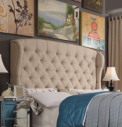 (Rosevera Leatham Upholstered Wingback Headboard (King, Beige))