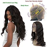 360 Lace Frontal Wig Peruvian Hair 150% Density Pre-Plucked Hairline 360 Lace Front Human Hair Wig Body Wave Hair Wig with Baby Hair for Black Women (20inch)