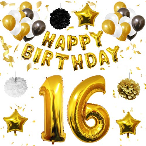 16th Birthday Decorations - 16 Happy Birthday Balloon - 26Pcs Birthday Décor Set with Mylar Letters, Latex & Foil Balloons, Pompom Flower and Stars- Party Supplies Suitable for Anniversary Boy -