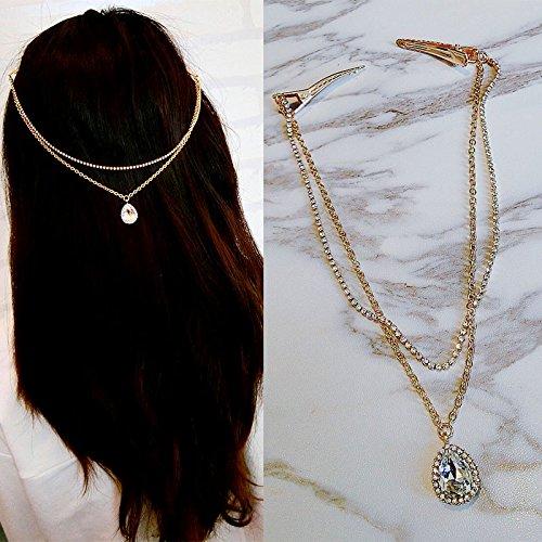 usongs Fairy Princess hairpin tassel drop necklace pendant diamond inlay edge clip hairpin top folder headdress ornaments women girls wild