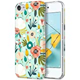 ULAK iPod Touch 7 Case, iPod Touch 6 Case, Slim Fit Anti-Scratch Flexible Soft TPU Bumper Hybrid Shockproof Protective Cover for Apple iPod Touch 5/6/7th Generation, Mint Floral
