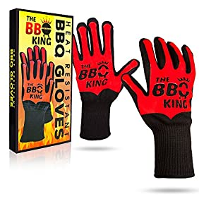 The BBQ King Heat Resistant Barbecue Gloves. Premium Aramid Fabric & Silicone Mitts Great For Grilling, Cooking, Baking, Fireplace. Long Forearm For Extra Protection. Red-Black, One Size, 1 Pair P/Box