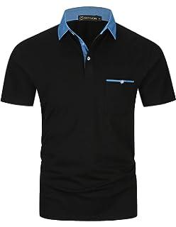 8d312d807 GHYUGR Men's Short Sleeve Polo Shirts Denim Contrasting Colors Golf Tennis  T-Shirt