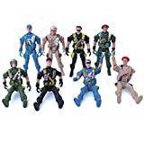 Imported Army Combat Game Toys Soldier Set with Zipper Backpack 9cm