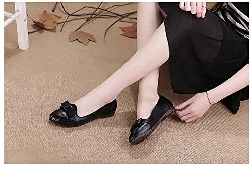 Rainstar Slip On Casual Para Mujer Zapatos Mocasines Bowknot Driving Zapatos De Cuero Negro