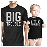 365 Printing Big Trouble Little Trouble Dad and Baby Couple Tees For Baby Shower