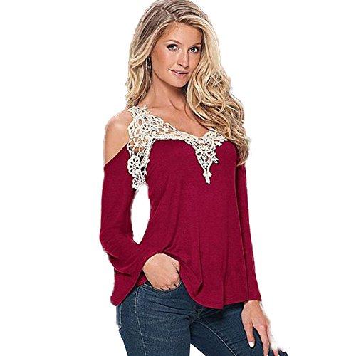base cime scoperte Camicia casuali a Rosso cuciture Maglietta T gonna in mini abito con V Moshow con shirt con spalle scollo pizzo ZwqdvvP