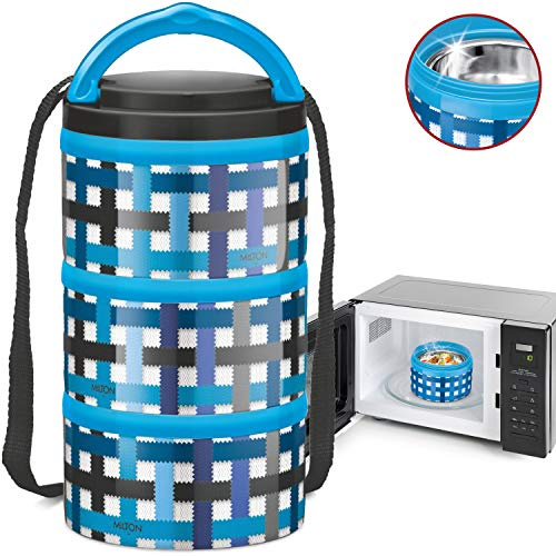 MILTON Insulated Lunch Bento Box Microwave Safe Stainless Steel thermos for Kids/Adults 12 oz. Food Jar With Shoulder Strap for Men Women 3 Compartment Meal Prep Containers (Blue Checkers, 3 Tier)