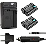 EN-EL15 Battery (2-Pack) and Charger for Nikon D600, D610, D750, D800, D800e, D810, D810a, D7000, D7100, D7200, 1 v1 Cameras   Rechargeable Li-Ion Battery
