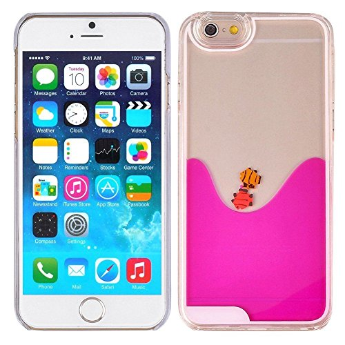 Apple iPhone 6 Plus / 6s Plus Fish Tank Dolphins Water Beach 3D Liquid Flow Floating Quicksand Waterfall Shell [Hard PC + Gel] Impact Protection Hybrid Thin Shockproof by Tech Express (Hot Pink)