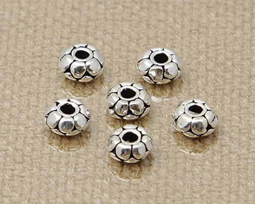 (Luoyi 10pcs Flower Sterling Silver Spacer Beads Fit DIY Jewelry, 5*2mm (G021K))