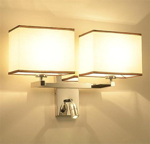 Atmko®Wall Lights Modern E27 Hotel Style Bedside Double Head Fabric ...