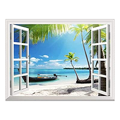 Stunning Handicraft, Top Quality Design, Removable Wall Sticker Wall Mural Boat on The Oceanside Creative Window View Wall Decor