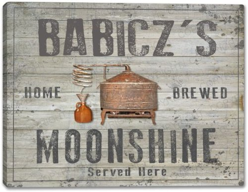 BABICZ'S Home Brewed Moonshine Stretched Canvas Print