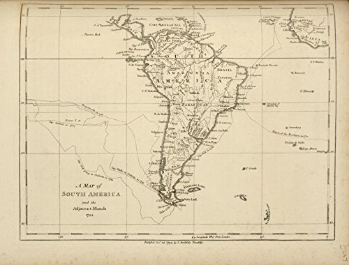 Historic 1794 Map   A map of South America and the adjacent islands, 1794.   United States  